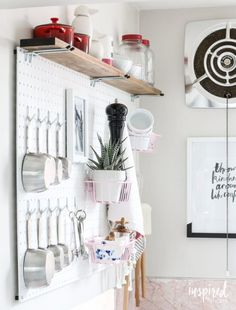 Inspired by Charm added organization and function to a small wall in his kitchen with this pegboard kitchen storage. Home Decor Bedroom, Living Room Decor, Diy Home Decor, Pegboard Organization, Organizing Ideas, Kitchen Storage, Kitchen Pegboard, Pegboard Garage, Kids Crafts