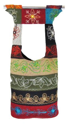Amazon.com: Hobo Bohemian Hippie Flower Embroidary Design on Both Sides Earth Friendly Inner Lining Great for Travelling Shoulder Sling Crossbody Gypsy Monk Bag Purse Nepal: Everything Else