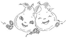 """Embroidery transfer design.  Anthropomorphic fruit and vegetable.  Pears.  (Yes, the inevitable pun, """"What a happy pair/pear."""")"""