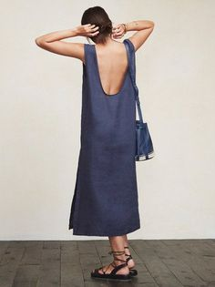 You don't want clingy relationships, and sometimes you don't want clingy outfits either. The Laguna Dress is a lovely, loose-fitting thing that allows fresh air to find you, which is especially pleasant on those warmer summer days. This is a medium weight linen midi dress with a side slit and deep scoop back. https://www.thereformation.com/products/laguna-dress-raleigh?utm_source=pinterest&utm_medium=organic&utm_campaign=PinterestOwnedPins