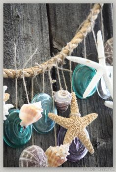 Ocean Sea Shells Starfish:  #Beach garland.