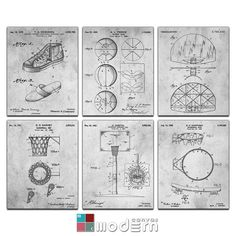 Basketball Blueprint Patent Six Panel Canvas by ModernCanvas