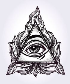 All seeing eye pyramid symbol. New World Order. Hand-drawn Eye of Providence. Alchemy, religion, spirituality, occultism, tattoo art. Isolated vector illustration. Conspiracy theory. Illustration