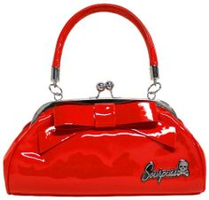 The Sourpuss Floozy purse is the perfect accessory to that little black dress! This vintage inspired shiny red vinyl purse features a vin. Vintage Fashion 1950s, Retro Fashion, Sourpuss Clothing, Bow Bag, Rockabilly Fashion, Rockabilly Rules, Rockabilly Dresses, Rockabilly Clothing, Cute Purses