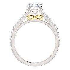 Two-Tone Design 14k White & Yellow Gold Prong Set Engagement Ring Mounting