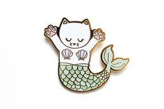 Hard Enamel Pin Enamel pin Mermaid Cat Lapel pin Purrmaid