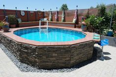 Above Ground Pool Installation Photos - The Pool Factory - Lilly is Love Above Ground Pool Landscaping, Swimming Pool Landscaping, Small Backyard Patio, Backyard Patio Designs, Outdoor Pool, Pool And Patio, Landscaping Ideas, Small Yard Pools, Garden Swimming Pool