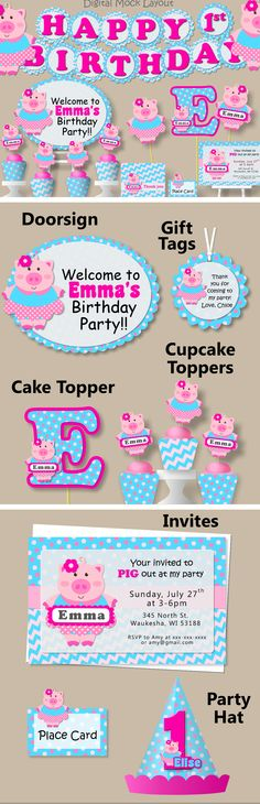 Girl Pig Birthday Party or Baby Shower #bcpaperdesigns