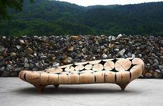 Wooden sofa by Jaehyo Lee