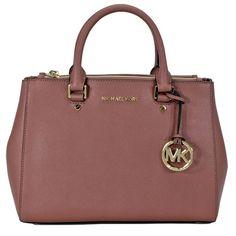af9833cae7d8f Michael Kors Sutton Dusty Rose Leather Medium Satchel Handbag Billig Michael  Kors Brieftasche