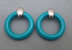 Vintage 1980s pierced door knocker earrings aqua enamel and silver-tone metal #Unbranded #Hoop