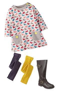 Mini Boden Tunic & Footless Tights (Little Girls & Big Girls) | Nordstrom