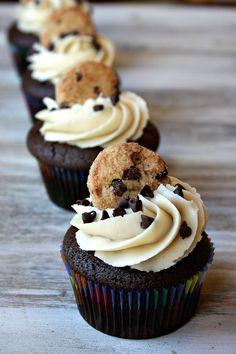 Chocolate chip cookie dough cupcakes with cookie dough filling and cookie dough frosting Cookie Dough Cupcakes, Cookie Dough Frosting, Chocolate Chip Cookie Dough, Yummy Cupcakes, Chocolate Chip Cupcakes, Filled Cupcakes, Chocolate Cupcakes Decoration, 12 Cupcakes, Birthday Cupcakes