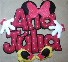 Nome em feltro Foam Crafts, Diy And Crafts, Felt Kids, Disney Crafts, 2nd Birthday, Cake Toppers, Minnie Mouse, Kids Room, Banner