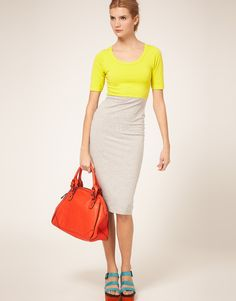 """Love this color-blocked dress. Perfect for summer. I'm sure it could be """"wintered"""" up, too. Sorta wish it came in other color combos, though. $45"""