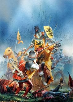 KNIGHTS: Louis de Nevers, count of Flanders, during his last charge at Crécy. Hundred Years War.