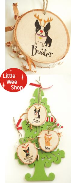 Dog Ornament, Dog Christmas Ornament.  Personalized by Little Wee Shop on Etsy.  Custom Dog ornament