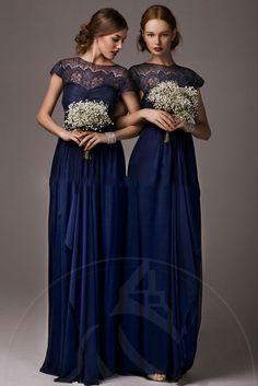 [99.25 € ] Robe demoiselle d' honneur antique en mousseline de col rond.  Simple Bridesmaid DressesNavy Bridesmaid DressesLong Prom ...