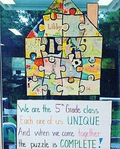 Classroom Community Activity Puzzle pieces to promote classroom unity God made us all unique for my form next year The post Classroom Community Activity appeared first on School Diy. Classroom Setting, Classroom Displays, Future Classroom, Classroom Organization, Classroom Management, 1st Day Of School, Beginning Of The School Year, Back To School, First Day Of School Activities