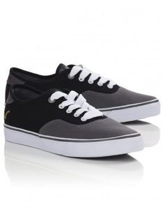 Men's black and grey canvas plimsolls with lace-up fastening, a vulcanized sole and small embroidered logo to heel. The New School, Back To School, Plimsolls, Nirvana, Boy Fashion, Black And Grey, Old Things, Vans, Heels