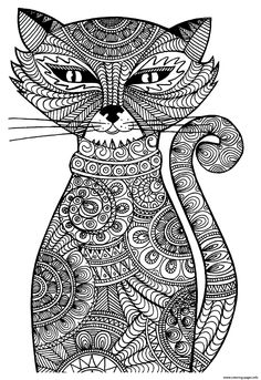 Print kitten adult cat coloring pages