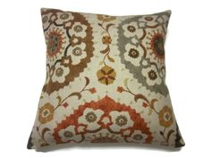 Decorative Pillow Cover Camel Brown Mustard Gold Gray Orange Rust Suzani Design Handmade 18 x 18 inch Toss Throw Accent Cover on Etsy, $20.00