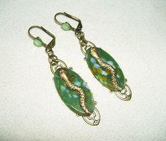 Art Deco Revival Earrings Egyptian Snake with Genuine Vintage Green Czech Glass   eBay