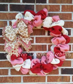 Red, white, and pink burlap Valentine's Day wreath by southcharmwreaths on Etsy