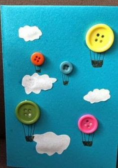 Quiet book page - Button Hot-air Ballon Kids Crafts Preschool Crafts, Fun Crafts, Arts And Crafts, Paper Crafts, Button Crafts For Kids, Preschool Transportation Crafts, Transportation Unit, Easy Kids Crafts, Simple Crafts