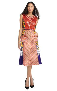 Shop Stripe Tweed Dress With Floral Panels by Marc Jacobs Now Available on Moda Operandi