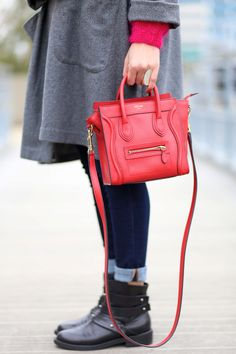 Celine Nano Luggage Red