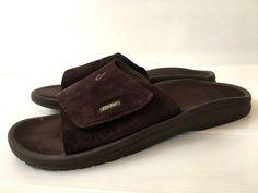 9a271f1cb8e6e6 OluKai Men s size 13 EU 48 Ohana Brown Suede Leather Slide Sandals Flip  Flops  OluKai