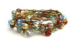 Stained Glass bohemian crochet wrap bracelet