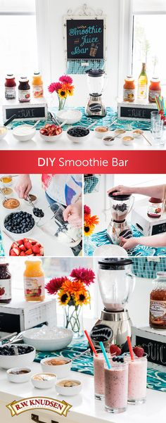 Your guests will be impressed with your creativity when you give them a chance to tailor a fresh smoothie to their individual tastes. Simply assemble a few basic smoothie ingredients along with some fresh fruit, nuts and toppings and your bar is practically complete. Plug in the blender and you'll be sipping in no time.