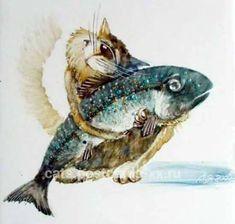 Котик и рыбка. Художник Анатолий Ярышкин.