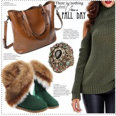 Fall day by duma-duma on Polyvore featuring moda, Fall and GREEN