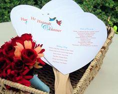 DIY Heart Fan Program Paper Kit : Printable Heart Shaped Hand Fan for Wedding
