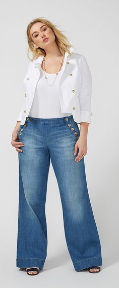 Plus Size Wide-Leg Sailor Jeans