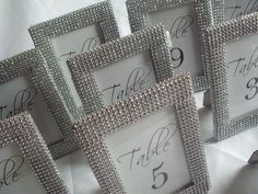Set of 10 - Silver Bling 4x6 Frames - Table Number Frames, Menu Holders, Food Signs - Truly Bling Out Your Wedding Or Party. $70.00, via Etsy.