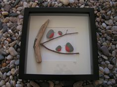Pebble Art Picture. Unique Gift Idea. Robins special occasion rustic. Can be purchased from http://www.amorrusticarts.com/store/c3/Pebble_Pictures.html