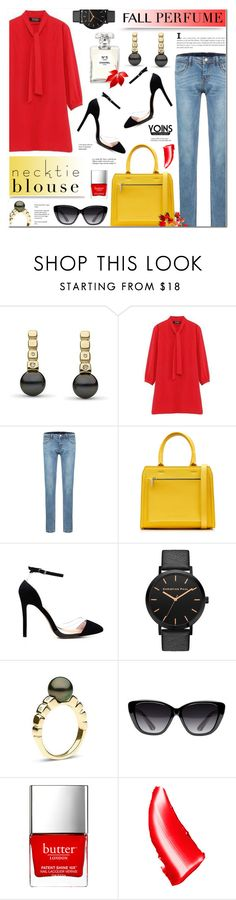 """Fall Trend: Necktie Blouse & Fall Fragrance- Yoins 8"" by anyasdesigns ❤ liked on Polyvore featuring Hera, Victoria Beckham, Chanel, Elizabeth and James, Butter London, NARS Cosmetics and Tiffany & Co."