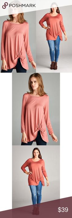Twist Detail Top - CINNAMON Long sleeves. Available in S-3X. Super soft! 95% rayon 5% spandex. No trades. No lowball offers. Also available in gray. Tops