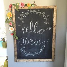 hello spring chalkboard #hellospring #springchalkboard