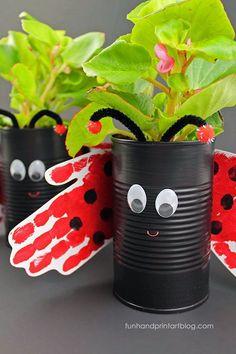 Hand Print Ladybug Tin Can Planter Craft