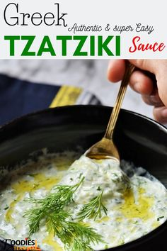 Authentic Greek Tzatziki Sauce (Super easy) – Food for Healty Best Tzatziki Sauce Recipe, Homemade Tzatziki Sauce, Tzatziki Recipes, Greek Sauce Tzatziki, Cucumber Recipes, Tatziki Sauce Recipe, Greek Cucumber Sauce, Greek Salad, Vegetarian Recipes