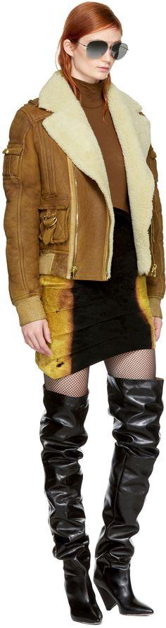 Balmain - Brown Shearling Bomber Jacket