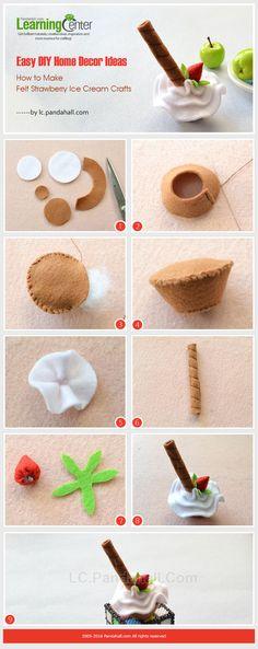 Easy DIY Home Decor Ideas - How to Make Felt Strawberry Ice Cream Crafts from… Felt Cake, Felt Cupcakes, New Crafts, Easy Crafts, Diy And Crafts, Diy Simple, Easy Diy, Sewing For Kids, Diy For Kids
