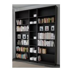 IKEA - BILLY, Bookcase, black-brown, , Adjustable shelves can be arranged according to your needs.Surface made from natural wood veneer.Narrow shelves help you use small wall spaces effectively by accommodating small items in a minimum of space.