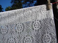 White Lace Vintage Curtains Two 2 Panels by NopalitoVintageMore, $26.00
