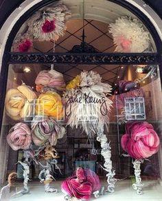 Store window display of paper flowers by Marianne Eriksen Scott-Hansen